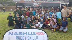Former Springbok Gcobani Bobo and learners from Wonderboom Hoërskool in Pretoria.